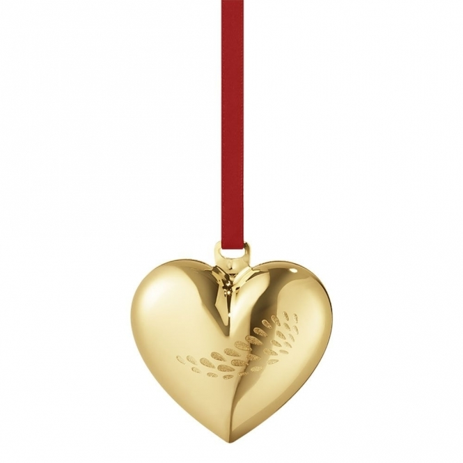 2018 Christmas Gold Plated Heart Decoration