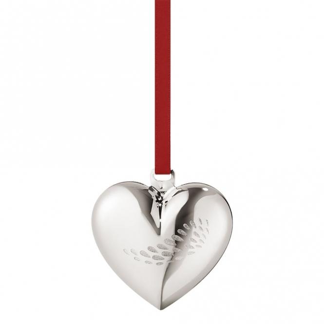 2018 Christmas Palladium Plated Heart Decoration