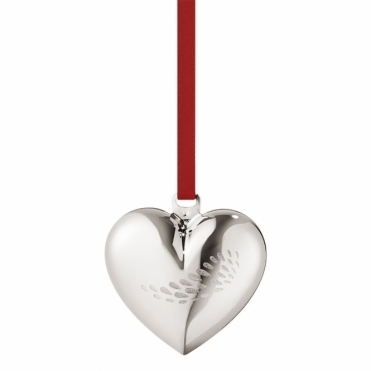 2018 Christmas Palladium Plated Heart Decoration