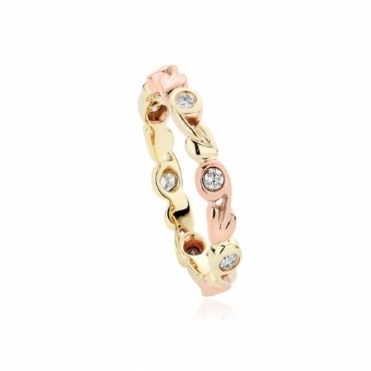 9ct Rose & Yellow Gold Diamond Tree of Life Ring