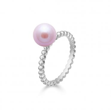 9ct White Gold Pink River Pearl Beaded Ring