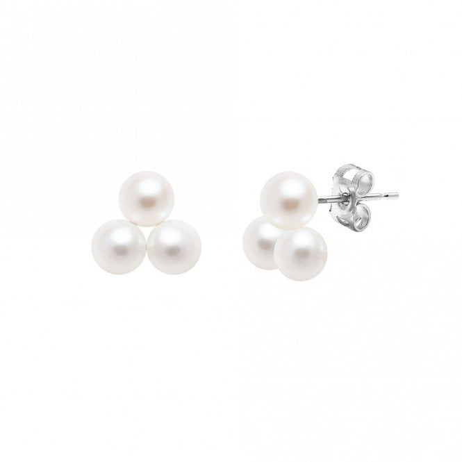 9ct White Gold River Pearl Cluster Stud Earrings