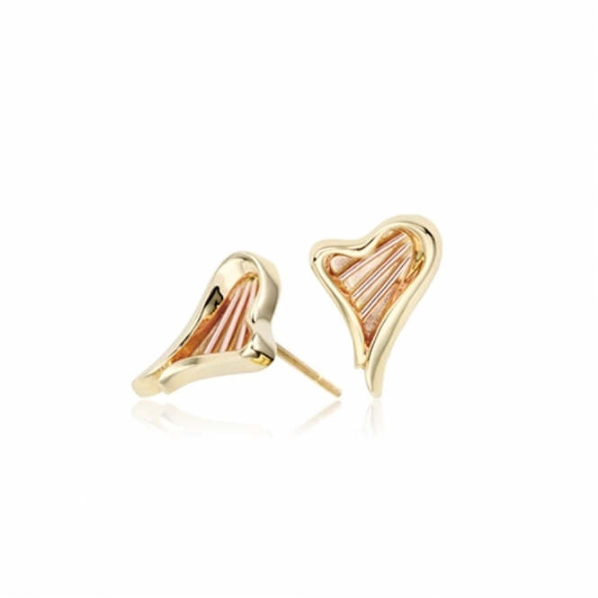 9ct  Yellow and Rose Gold Heart Strings Stud Earrings