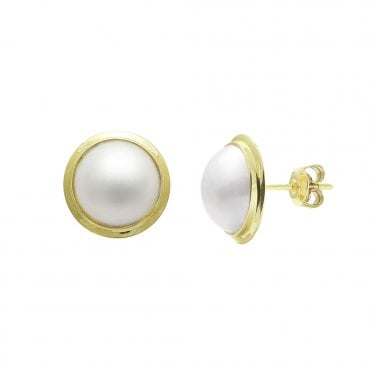 9ct Yellow Gold Mabe Pearl Stud Earrings