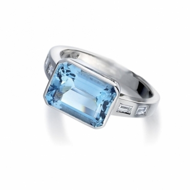 Aquamarine & Baguette Diamond Ring