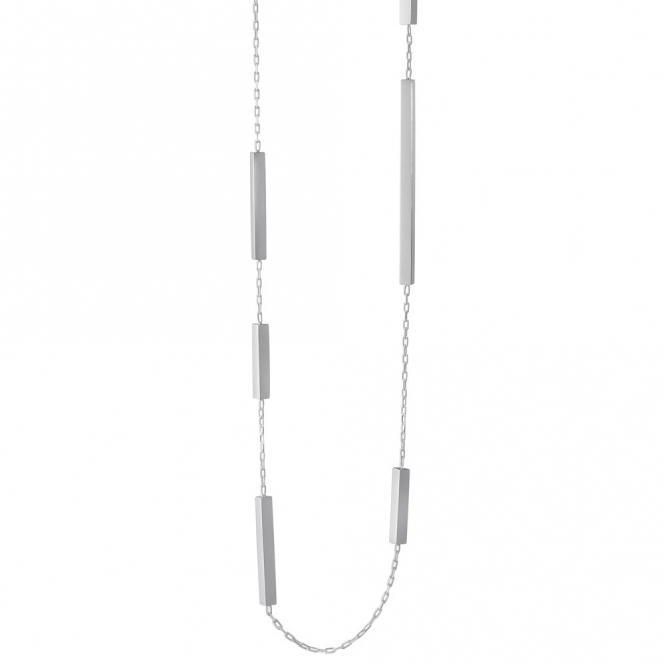 Aria Sterling Silver Slim Bar Sautoir Necklace