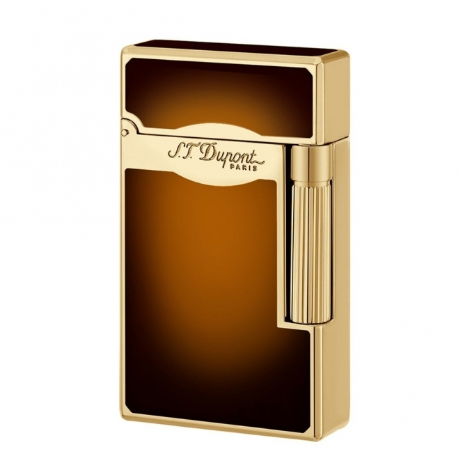Atelier ST Dupont Sunburst Brown Gas Lighter in Natural Lacquer and Gold Plate.