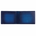 Atelier Sunburst Billfold/ 6 Credit Cards in Blue Leather