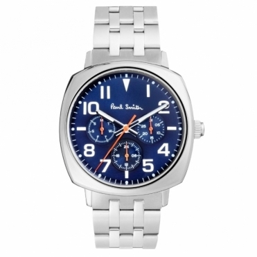 Atomic Chronograph Quartz Watch Blue Dial and Orange Hands