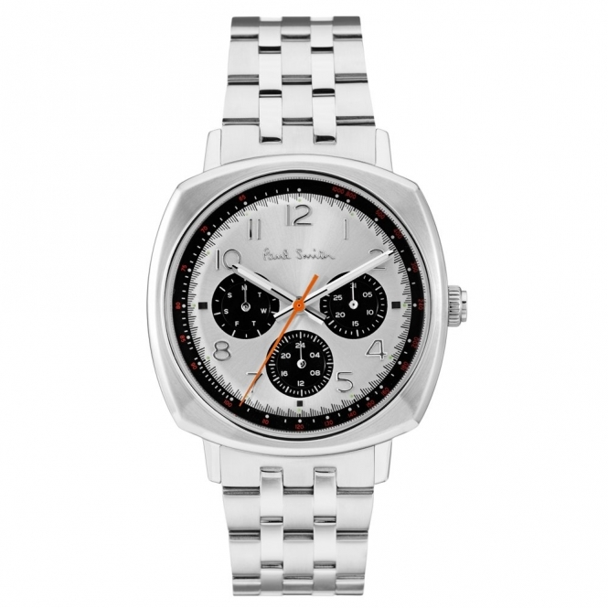 Atomic Chronograph Stainless Watch with Silver Dial & Black Sub-Dials