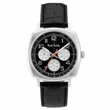 Atomic Chronograph Watch with Black/Silver Dial & Black Leather Strap