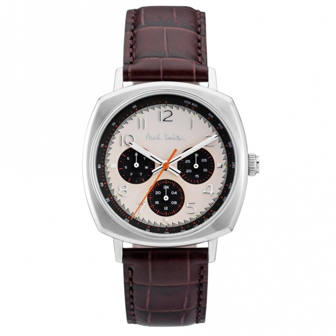Atomic Chronograph Watch with Cream Dial & Black Sub-Dials