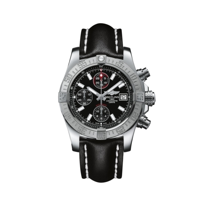 Avenger II Automatic chronograph in steel with black dial and black calf leather strap - A1338111