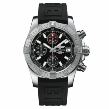 Avenger II Chronograph self-winding watch with black dial and rubber strap