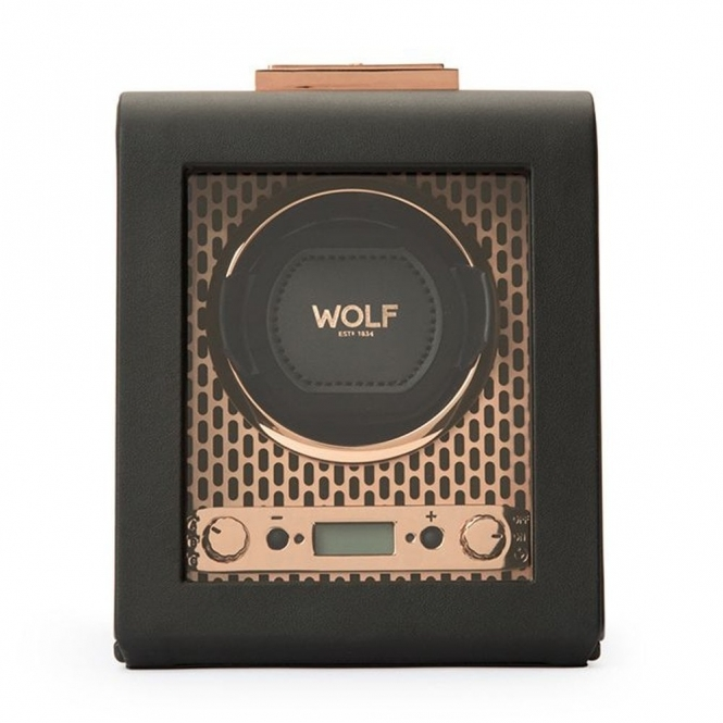 Axis Single Watch Winder in Black Leather with Copper Plated Fascia