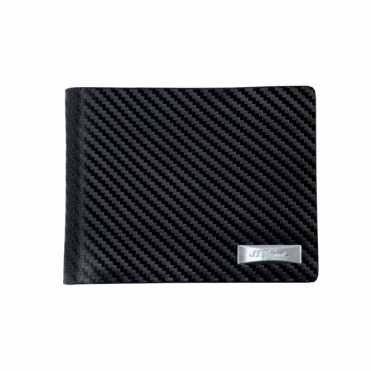 Black Carbon Finish Leather Billfold Wallet
