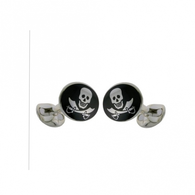 Black Enamel Skull & Cross Swords Silver Cufflinks