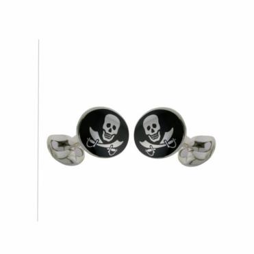 Black Enamel Skull & Cross Swords Silver Cufflinks