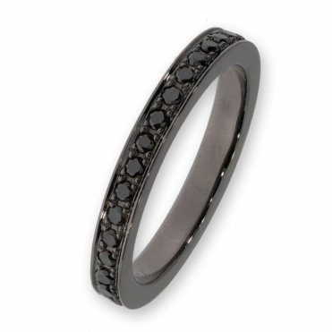 Black rhodium full eternity ring set with black diamonds