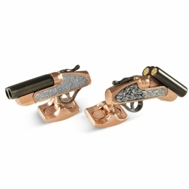 Black Rhodium Plate and Rose Gold Plate Mechanical Shotgun Cufflinks