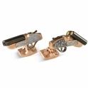 Black Rhodium Plate and Rose Gold Plate Mechanical Shotgun Cufflinks