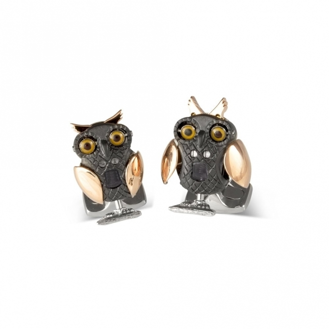 Black Rhodium & Rose Gold Plated Mechanical Owl Cufflinks