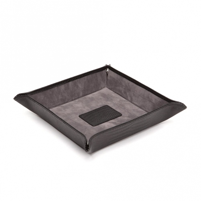 Blake Coin Tray in Black Lizard Skin Embossed Leather
