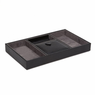 Blake Valet Tray in Black Teju Lizard Finish