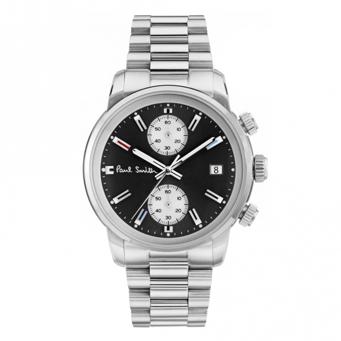 Block Chronograph 42.5mm quartz watch with Black and Silver Dial