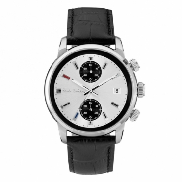 Block Chronograph 42.5mm quartz watch with Silver Dial and Black Strap