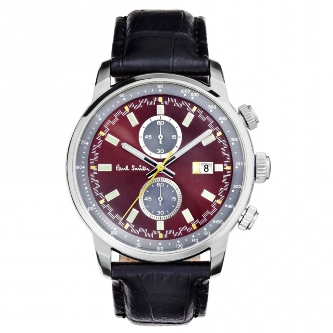 Block Chronograph Quartz Watch Burgundy and Silver dial