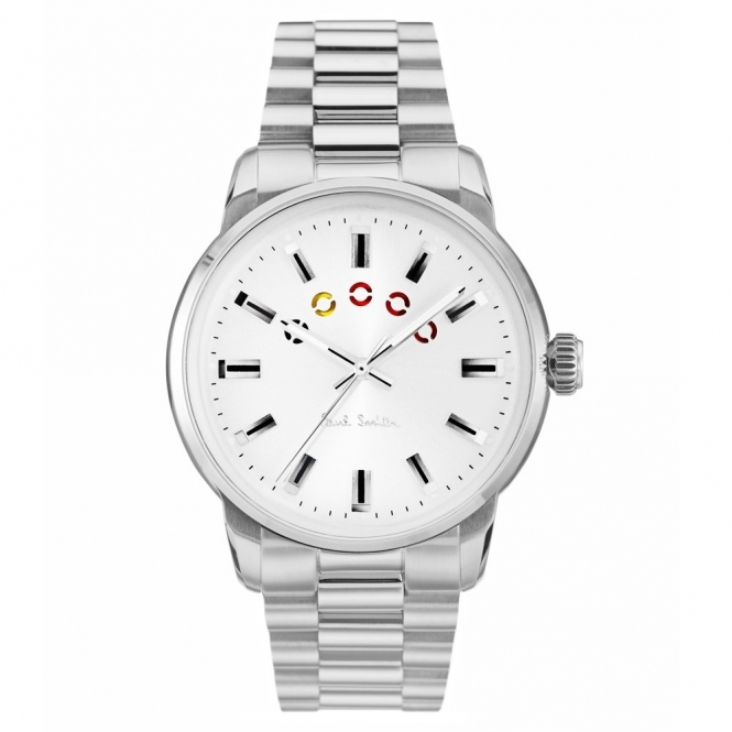 Block Stainless Steel Watch with Silver dial & Coloured Turning Disc