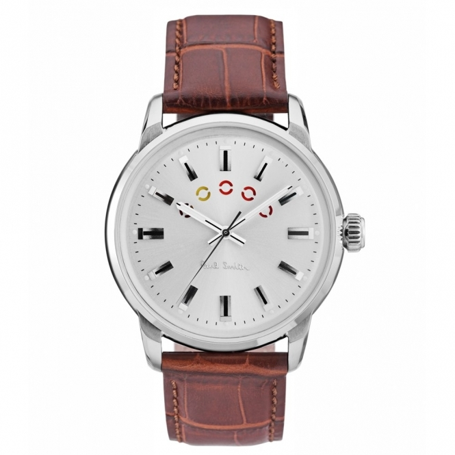 Block Watch with Coloured Turning Disc & Brown Leather Strap