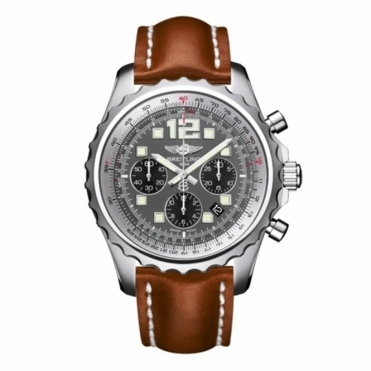 Breitling Chronospace with Black-Eyed Grey Dial and Gold Calf Leather Strap