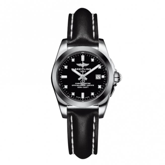 Breitling Galactic 29 Ladies Quartz Watch with Black Diamond Set Dial