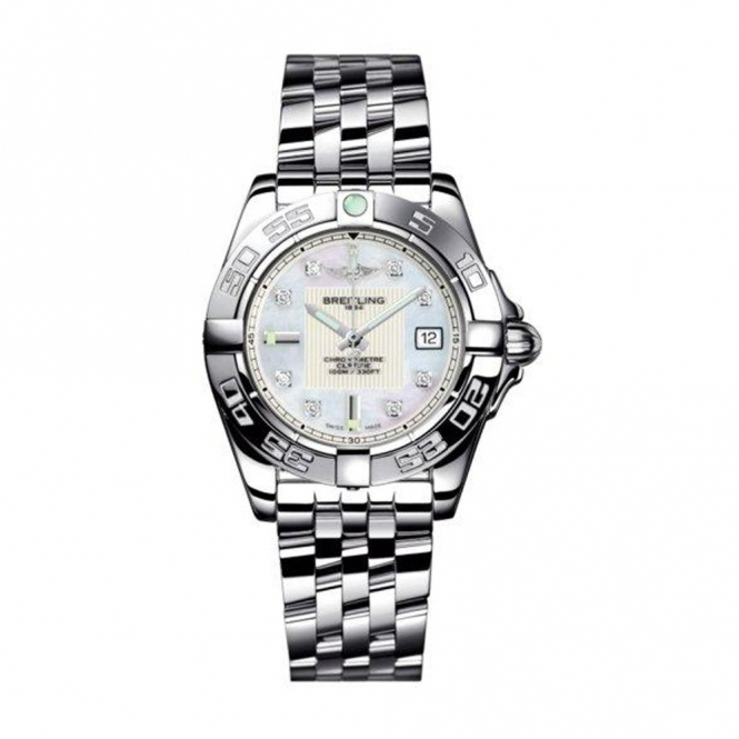 Breitling Galactic 32 ladies steel quartz watch with Mother-of-Pearl and Diamond Dial -  A71356L2/A708