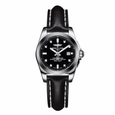 Breitling Luxury Watches Galactic 29 Ladies Quartz Watch with Black Diamond Set Dial