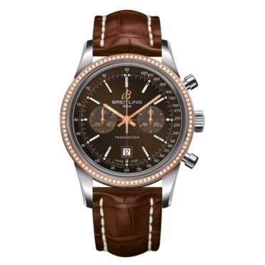 Breitling Luxury Watches Transocean Chronograph 38 with rose gold diamond set bezel.