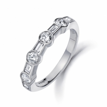 Brilliant Cut & Baguette Cut Half Eternity Ring