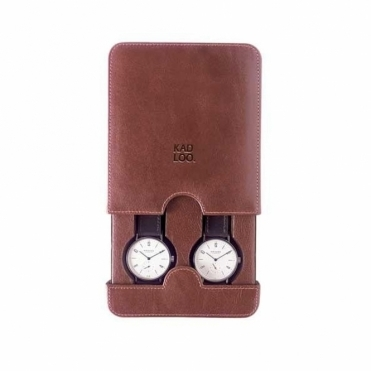 Brown Leather Double Watch Case