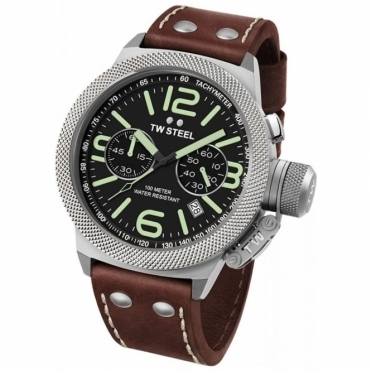 Canteen 45mm Quartz Chronograph watch with Black Dial