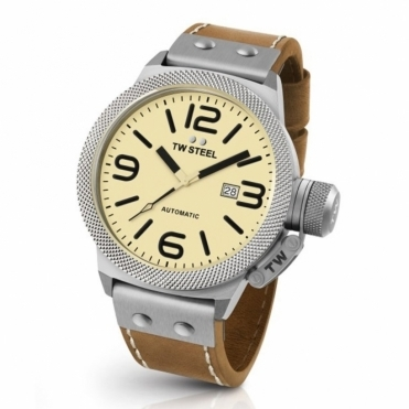 Canteen Automatic 48mm watch with Crystal case-back and Cream dial