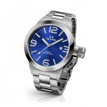 Canteen Bracelet 45mm Quartz Watch with Blue Dial - CB11