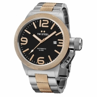 Canteen Bracelet Automatic 45mm Watch in steel and machined finish rose gold PVD