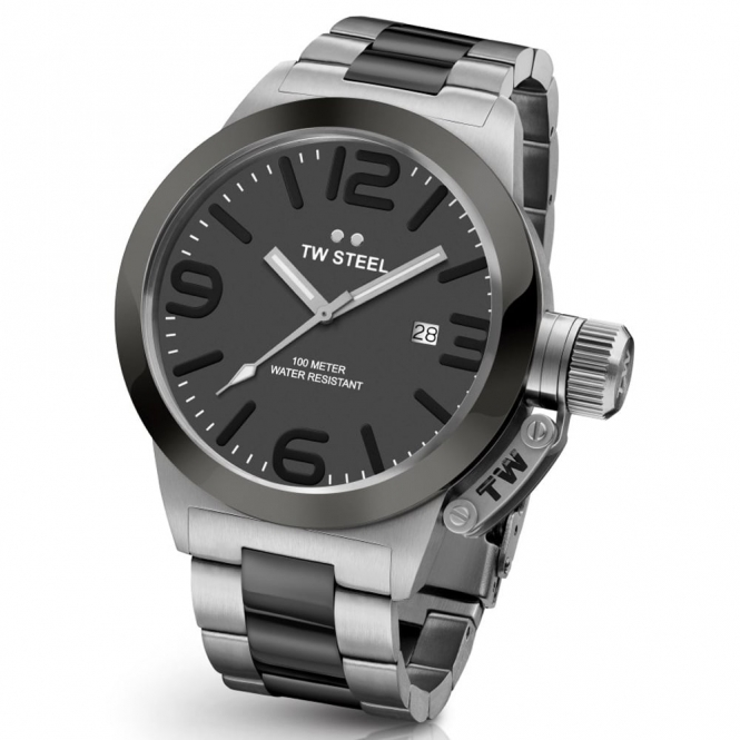 Canteen Bracelet Quartz Watch 45mm with Black Ceramic Bezel