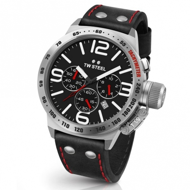 Canteen Leather 50mm quartz chronograph with Tachymeter Bezel and red stitch black strap