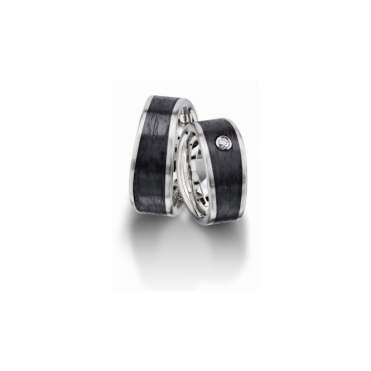 Carbon & Palladium Satin Finished 9mm Wedding Rings