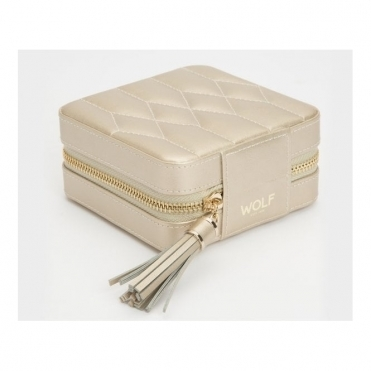 Caroline Champagne Leather Zip Case