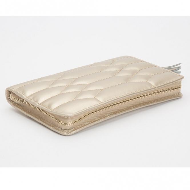 Caroline Champagne Portfolio In Quilted Leather