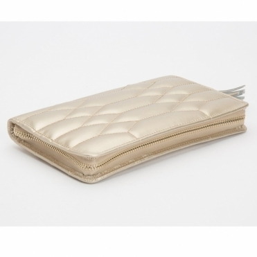 Caroline Champagne Portfolio In Quilted Leather